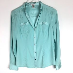 Cache Silk Blend Button Down Top